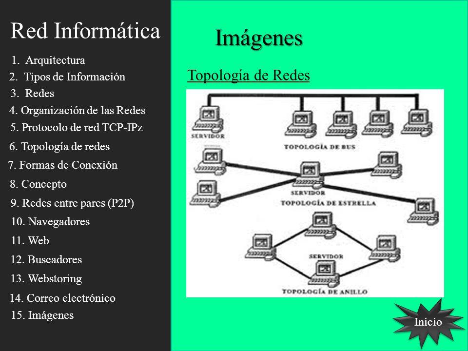 Red Informática Inicio Imágenes Topología de Redes 1. Arquitectura 2. Tipos de Información 3. Redes 4. Organización de las Redes 5. Protocolo de red T