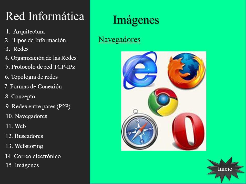 Imágenes Inicio Red Informática Navegadores 1. Arquitectura 2. Tipos de Información 3. Redes 4. Organización de las Redes 5. Protocolo de red TCP-IPz