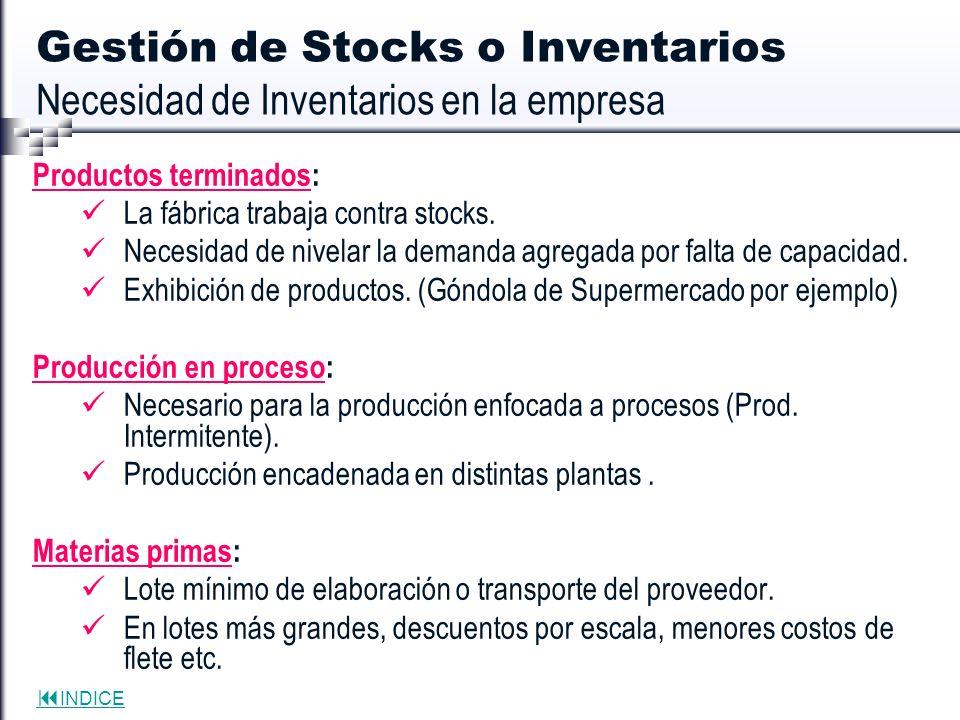 INDICE Gestión de Stocks o Inventarios Necesidad de Inventarios en la empresa Productos terminados: La fábrica trabaja contra stocks. Necesidad de niv