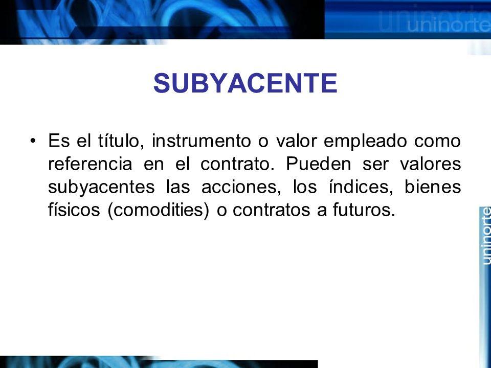 SUBYACENTE Es el título, instrumento o valor empleado como referencia en el contrato. Pueden ser valores subyacentes las acciones, los índices, bienes