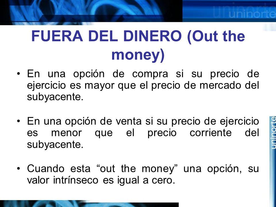 FUERA DEL DINERO (Out the money) En una opción de compra si su precio de ejercicio es mayor que el precio de mercado del subyacente. En una opción de