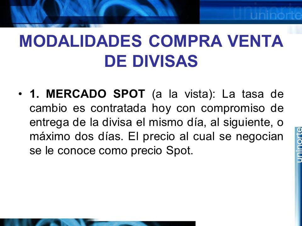 MODALIDADES COMPRA VENTA DE DIVISAS 1. MERCADO SPOT (a la vista): La tasa de cambio es contratada hoy con compromiso de entrega de la divisa el mismo