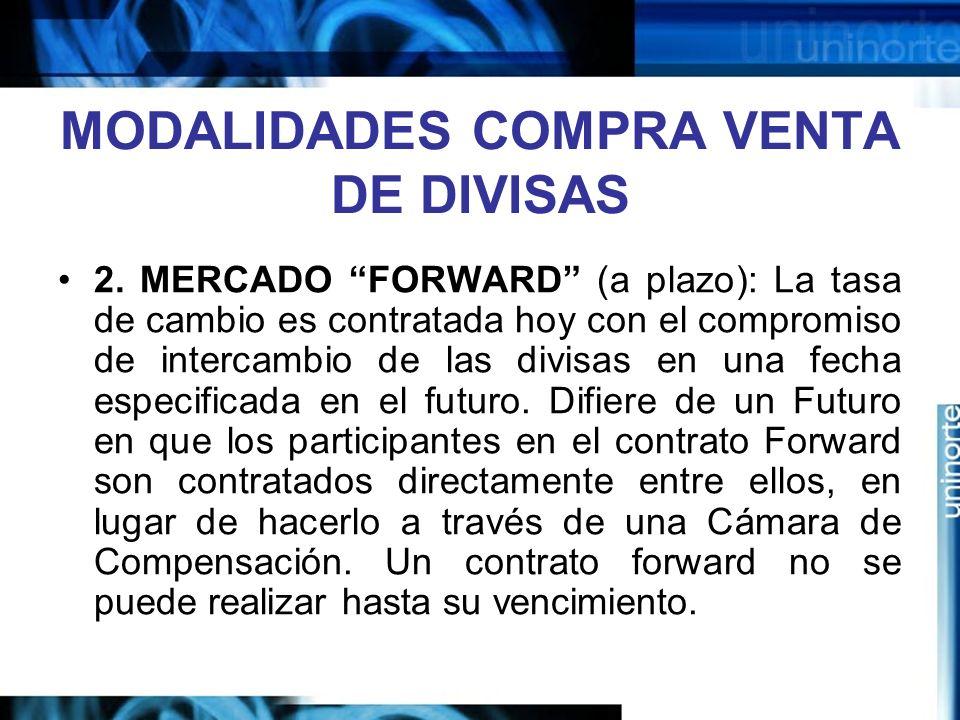 MODALIDADES COMPRA VENTA DE DIVISAS 2. MERCADO FORWARD (a plazo): La tasa de cambio es contratada hoy con el compromiso de intercambio de las divisas