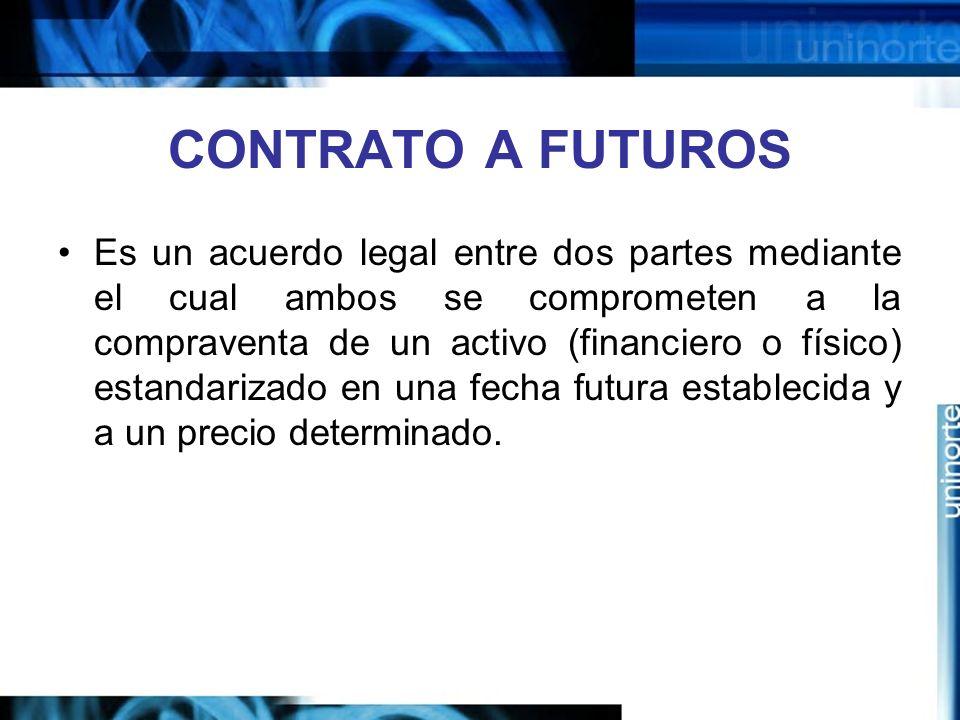 CONTRATO A FUTUROS Es un acuerdo legal entre dos partes mediante el cual ambos se comprometen a la compraventa de un activo (financiero o físico) esta