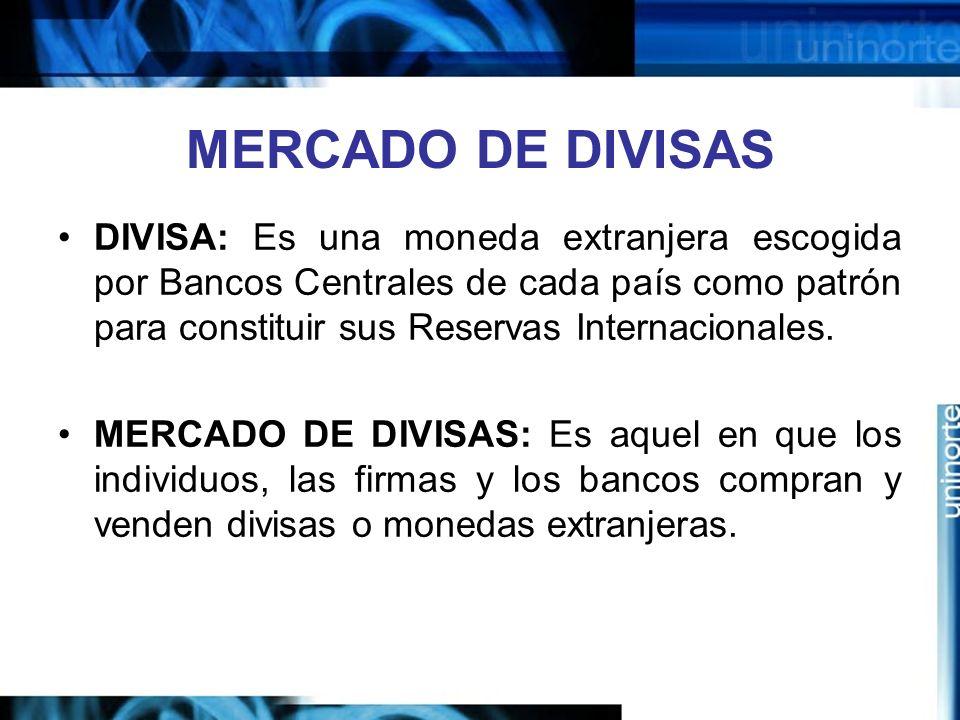 MERCADO DE DIVISAS DIVISA: Es una moneda extranjera escogida por Bancos Centrales de cada país como patrón para constituir sus Reservas Internacionale