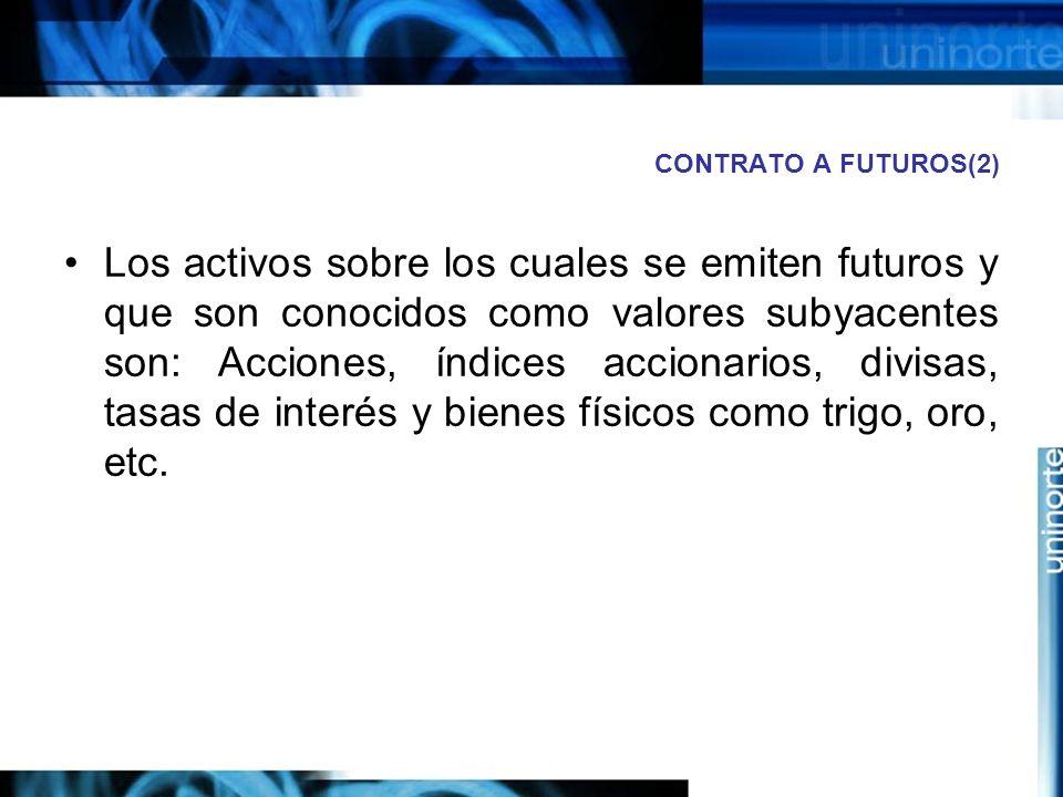 CONTRATO A FUTUROS(2) Los activos sobre los cuales se emiten futuros y que son conocidos como valores subyacentes son: Acciones, índices accionarios,