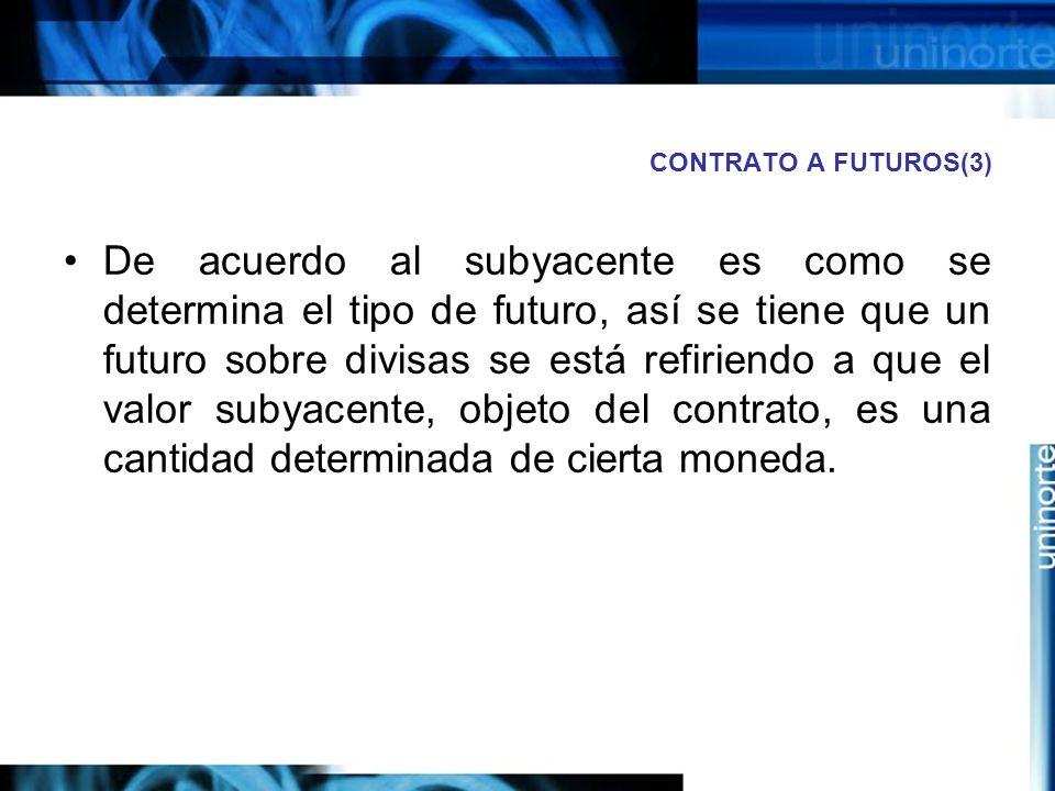 CONTRATO A FUTUROS(3) De acuerdo al subyacente es como se determina el tipo de futuro, así se tiene que un futuro sobre divisas se está refiriendo a q
