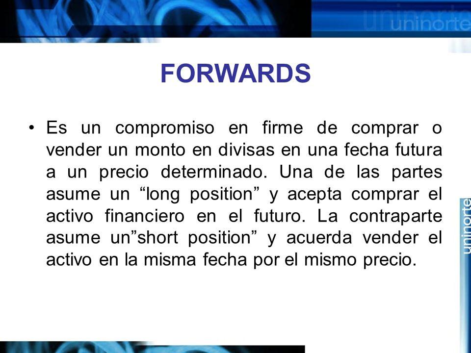 FORWARDS Es un compromiso en firme de comprar o vender un monto en divisas en una fecha futura a un precio determinado. Una de las partes asume un lon