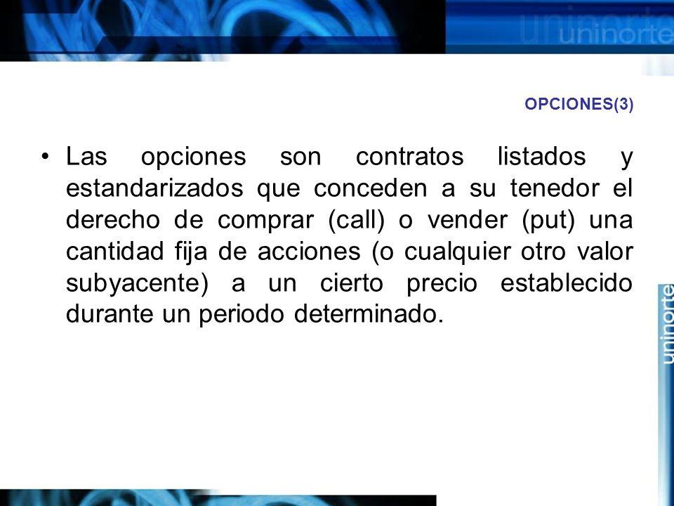 OPCIONES(3) Las opciones son contratos listados y estandarizados que conceden a su tenedor el derecho de comprar (call) o vender (put) una cantidad fi