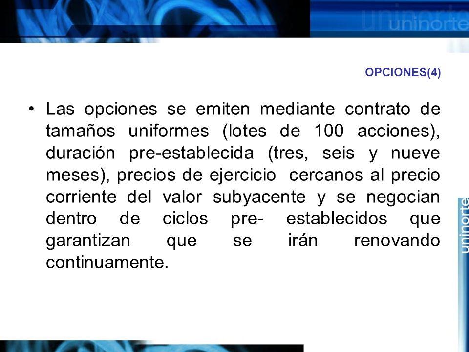 OPCIONES(4) Las opciones se emiten mediante contrato de tamaños uniformes (lotes de 100 acciones), duración pre-establecida (tres, seis y nueve meses)
