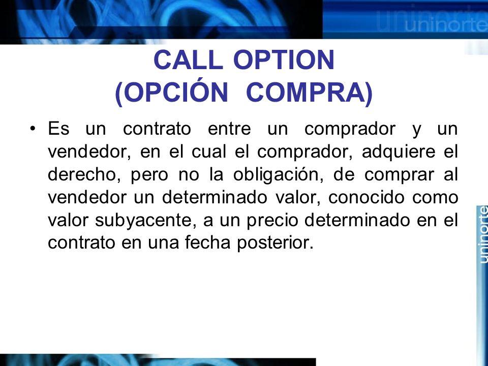 CALL OPTION (OPCIÓN COMPRA) Es un contrato entre un comprador y un vendedor, en el cual el comprador, adquiere el derecho, pero no la obligación, de c
