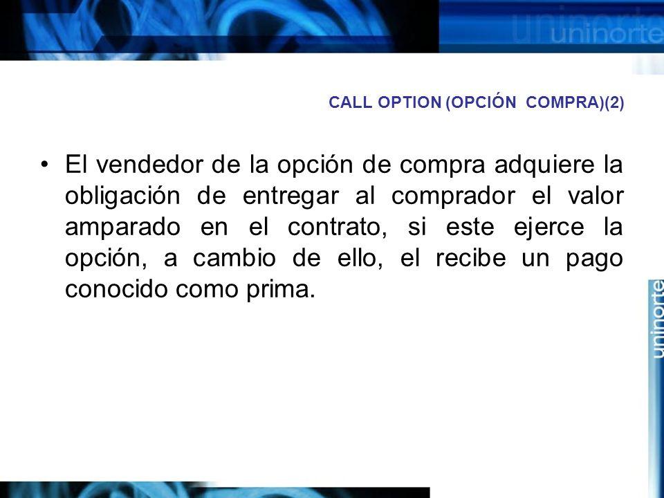 CALL OPTION (OPCIÓN COMPRA)(2) El vendedor de la opción de compra adquiere la obligación de entregar al comprador el valor amparado en el contrato, si