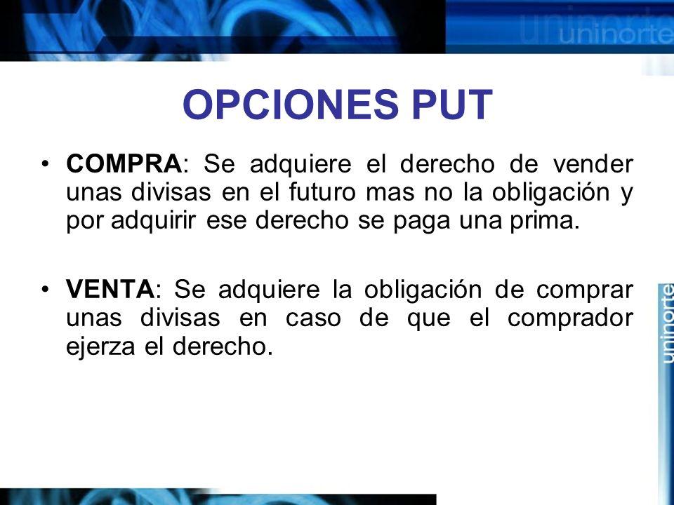 OPCIONES PUT COMPRA: Se adquiere el derecho de vender unas divisas en el futuro mas no la obligación y por adquirir ese derecho se paga una prima. VEN