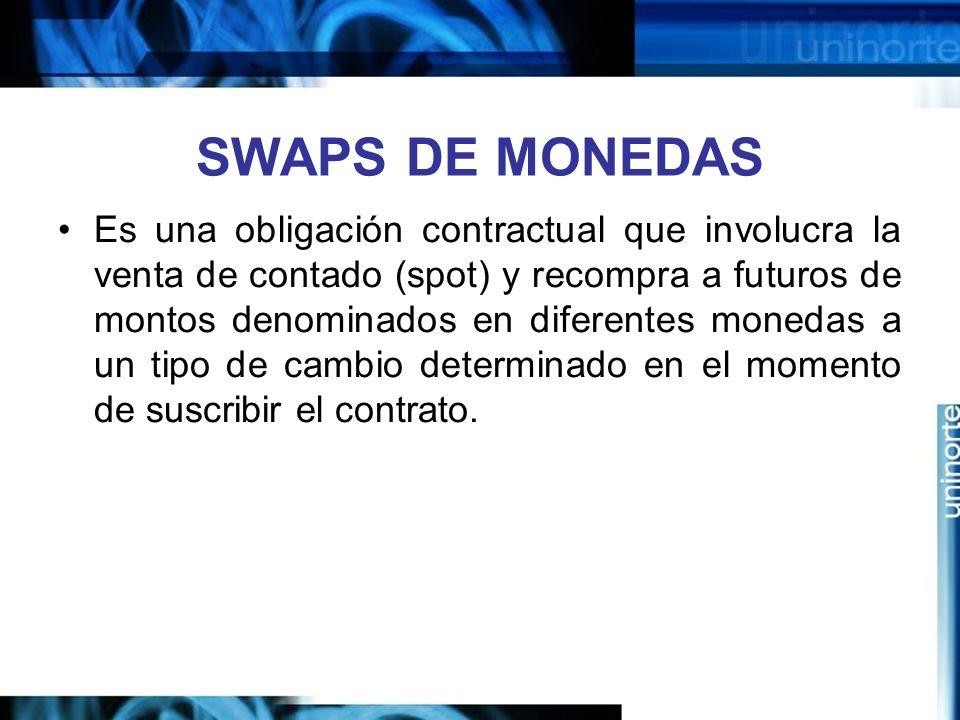 SWAPS DE MONEDAS Es una obligación contractual que involucra la venta de contado (spot) y recompra a futuros de montos denominados en diferentes moned
