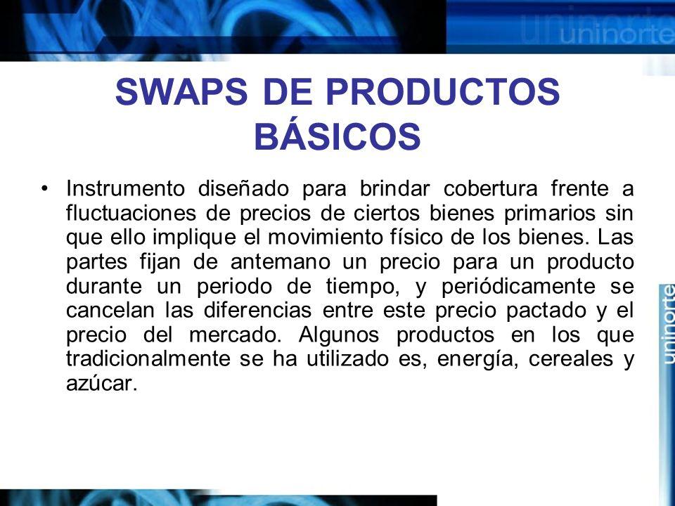 SWAPS DE PRODUCTOS BÁSICOS Instrumento diseñado para brindar cobertura frente a fluctuaciones de precios de ciertos bienes primarios sin que ello impl