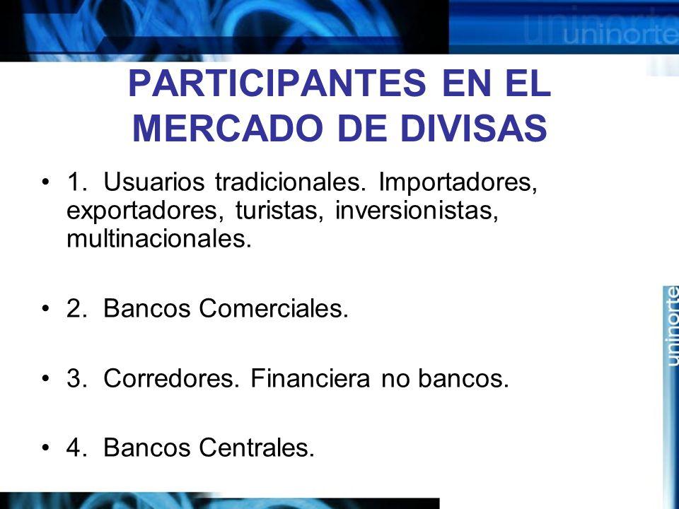 PARTICIPANTES EN EL MERCADO DE DIVISAS 1. Usuarios tradicionales. Importadores, exportadores, turistas, inversionistas, multinacionales. 2. Bancos Com