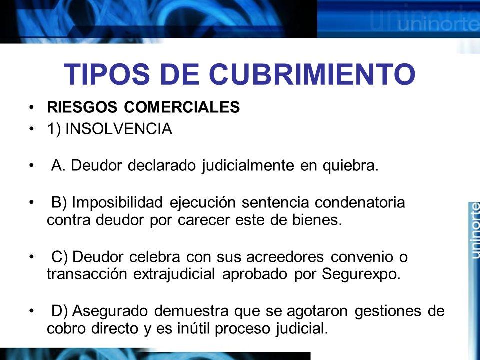 TIPOS DE CUBRIMIENTO RIESGOS COMERCIALES 1) INSOLVENCIA A. Deudor declarado judicialmente en quiebra. B) Imposibilidad ejecución sentencia condenatori