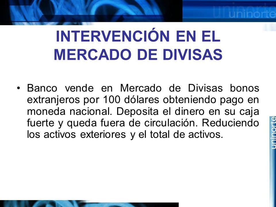 INTERVENCIÓN EN EL MERCADO DE DIVISAS Banco vende en Mercado de Divisas bonos extranjeros por 100 dólares obteniendo pago en moneda nacional. Deposita