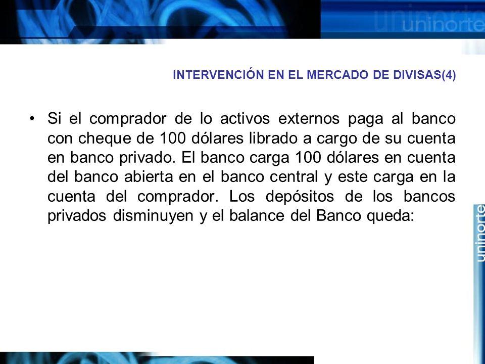 INTERVENCIÓN EN EL MERCADO DE DIVISAS(4) Si el comprador de lo activos externos paga al banco con cheque de 100 dólares librado a cargo de su cuenta e