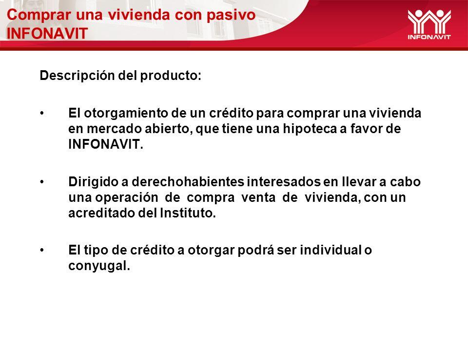 Descripción del producto: El otorgamiento de un crédito para comprar una vivienda en mercado abierto, que tiene una hipoteca a favor de INFONAVIT.