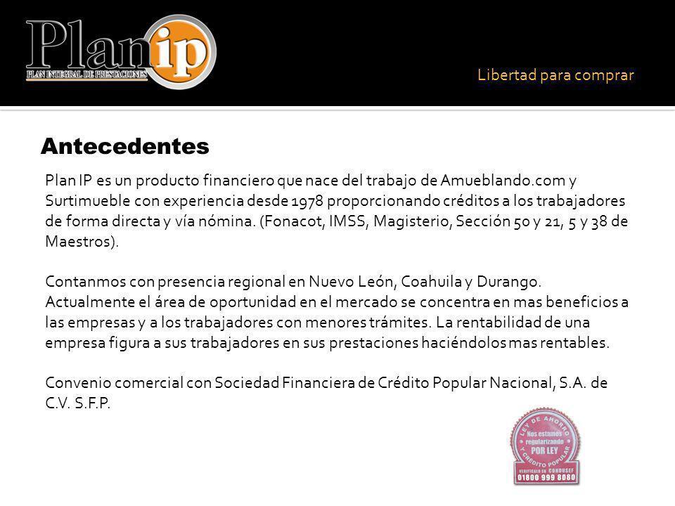 Libertad para comprar Contáctanos Nuevo León: (81) 1247.4778 / (81)1247.4779 Coahuila: (84)4180.1600 Lada 800 para el interior de la República Mexicana: 01.800.639.4778 Página Web: www.planip.com.mxwww.planip.com.mx Correo electrónico: informes@planip.com.mxinformes@planip.com.mx
