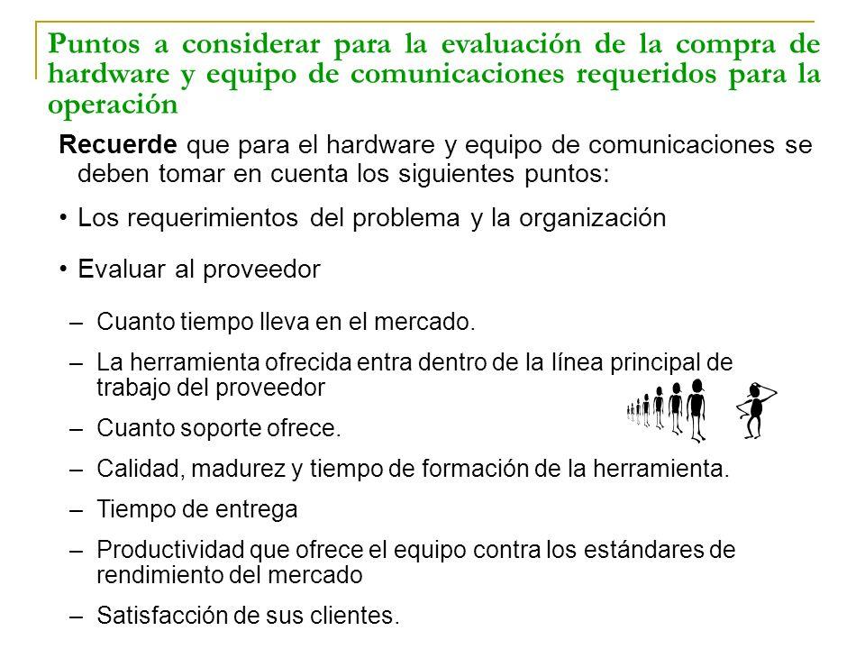 Recuerde que para el hardware y equipo de comunicaciones se deben tomar en cuenta los siguientes puntos: Los requerimientos del problema y la organiza