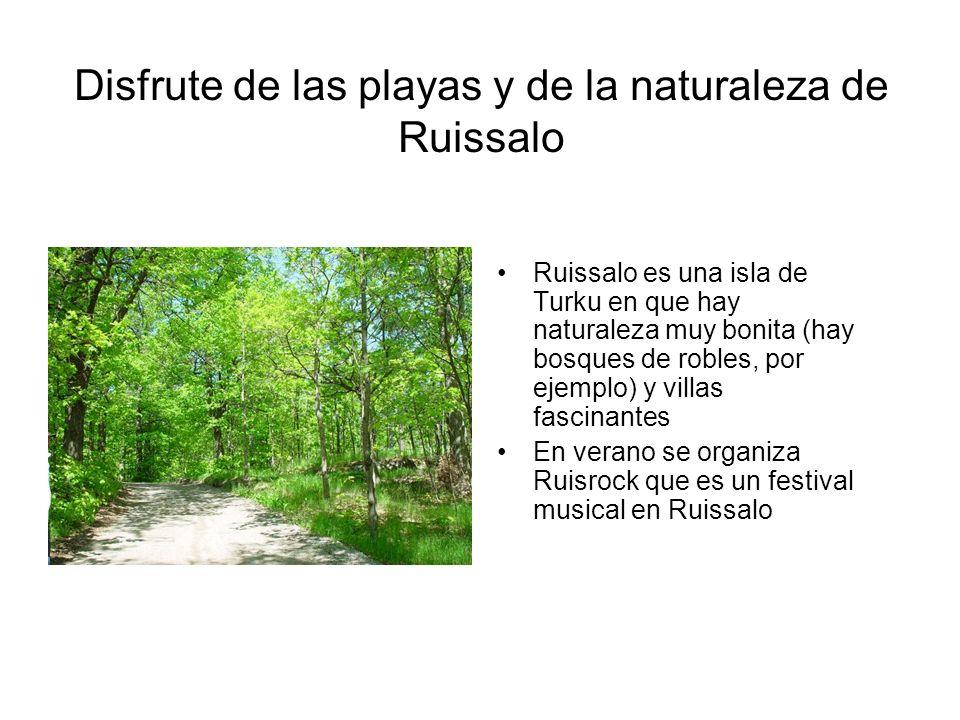 Disfrute de las playas y de la naturaleza de Ruissalo Ruissalo es una isla de Turku en que hay naturaleza muy bonita (hay bosques de robles, por ejemp