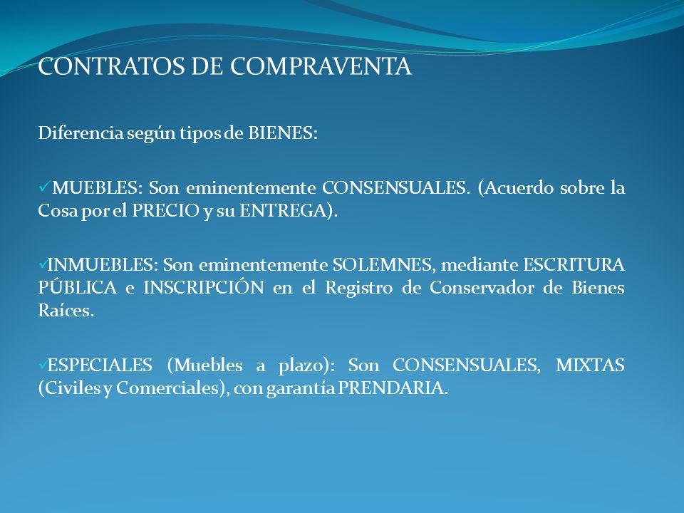 CONTRATOS DE COMPRAVENTA Diferencia según tipos de BIENES: MUEBLES: Son eminentemente CONSENSUALES. (Acuerdo sobre la Cosa por el PRECIO y su ENTREGA)