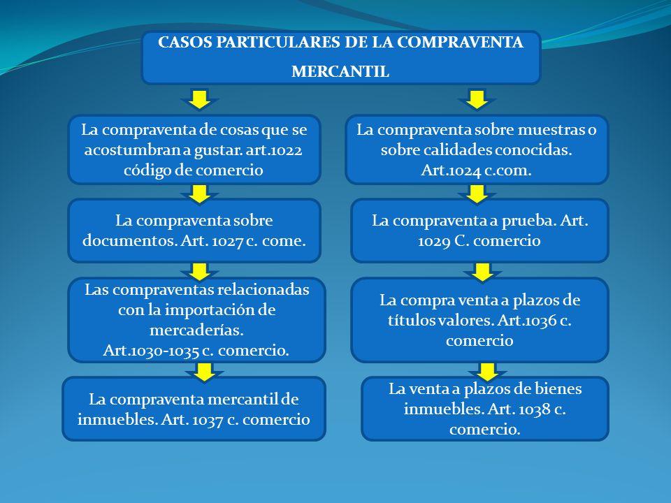 CASOS PARTICULARES DE LA COMPRAVENTA MERCANTIL Las compraventas relacionadas con la importación de mercaderías. Art.1030-1035 c. comercio. La venta a
