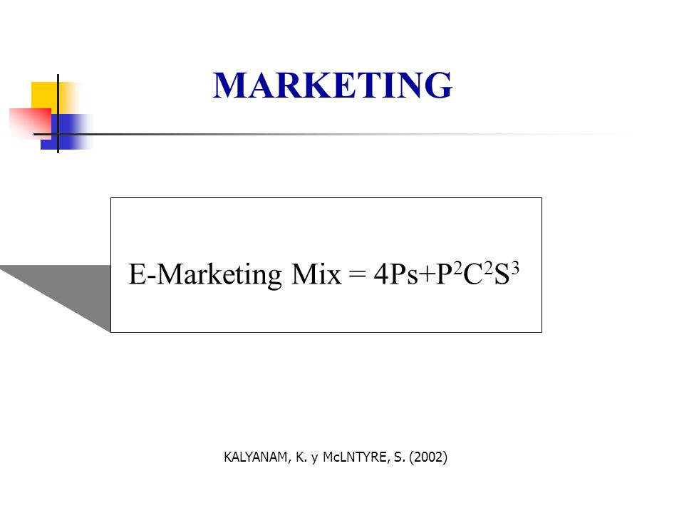 E-Marketing Mix = 4Ps+P 2 C 2 S 3 MARKETING KALYANAM, K. y McLNTYRE, S. (2002)