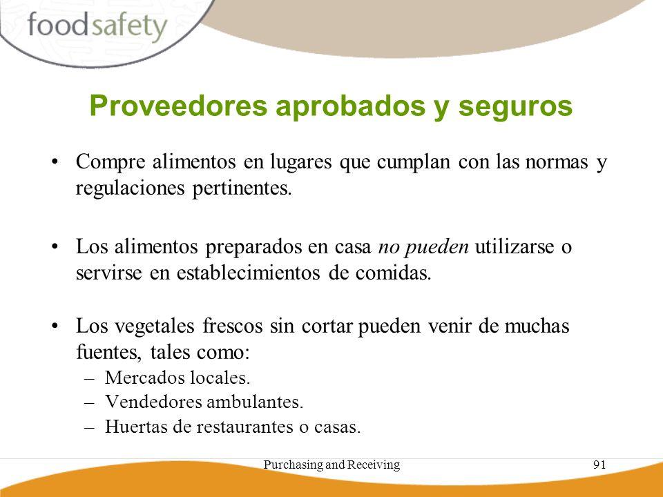 Purchasing and Receiving91 Proveedores aprobados y seguros Compre alimentos en lugares que cumplan con las normas y regulaciones pertinentes. Los alim