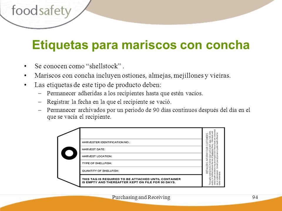 Purchasing and Receiving94 Etiquetas para mariscos con concha Se conocen como shellstock. Mariscos con concha incluyen ostiones, almejas, mejillones y