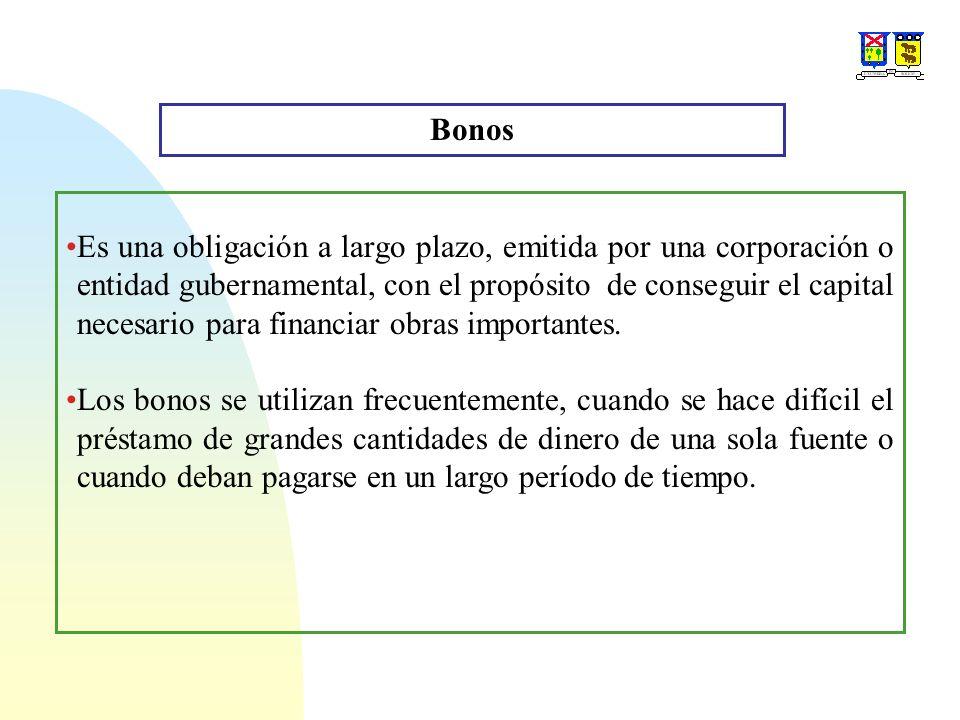 Bonos: Condiciones de Pago Estas condiciones se especifican en el momento de emitir los bonos e incluyen en Valor nominal de bono, La tasa de interés del bono, el período de pago de interés y su fecha de vencimiento.