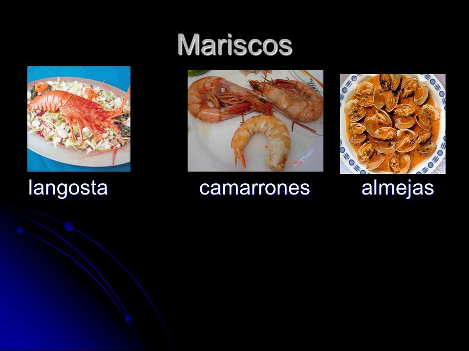 Mariscos langosta camarrones almejas