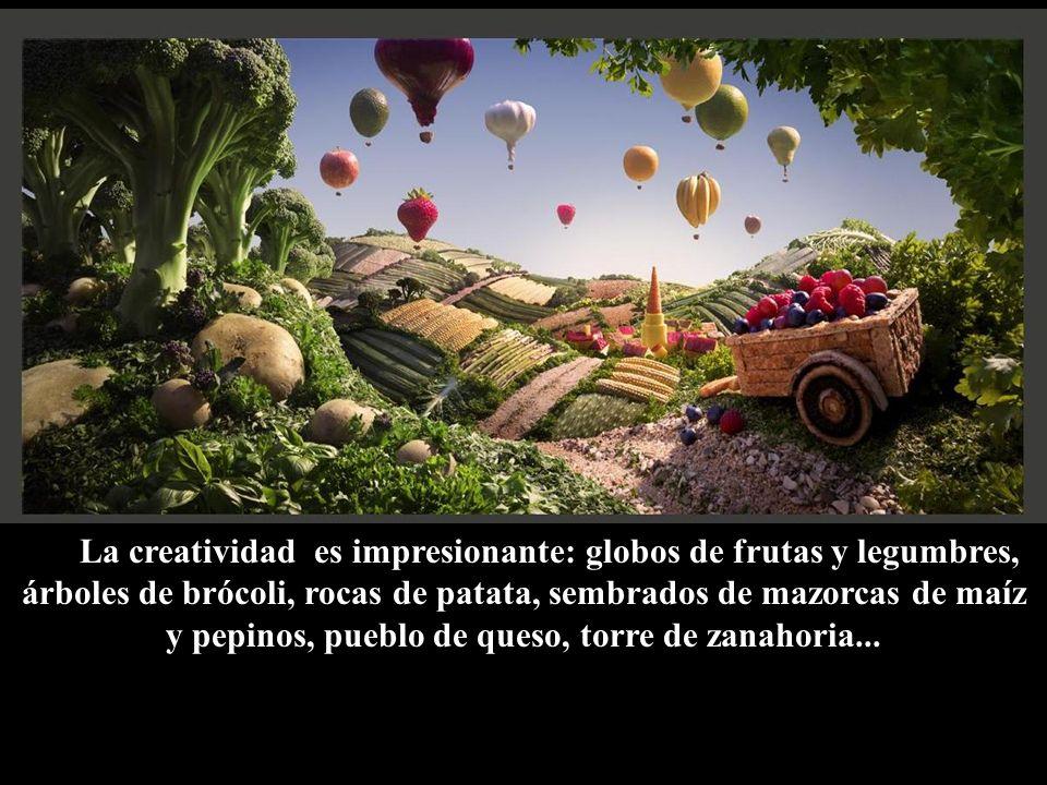 La creatividad es impresionante: globos de frutas y legumbres, árboles de brócoli, rocas de patata, sembrados de mazorcas de maíz y pepinos, pueblo de queso, torre de zanahoria...