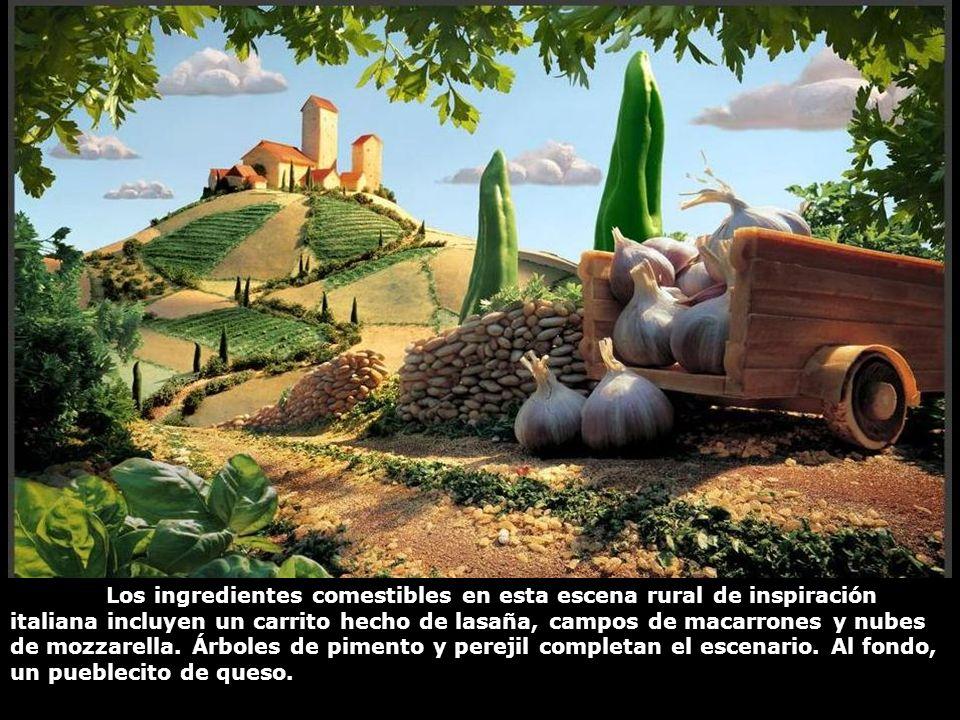 Los ingredientes comestibles en esta escena rural de inspiración italiana incluyen un carrito hecho de lasaña, campos de macarrones y nubes de mozzarella.