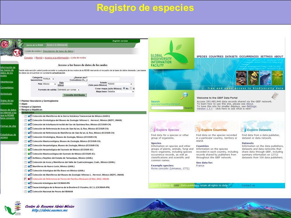 Registro de especies