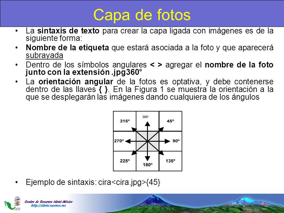 Capa de fotos La sintaxis de texto para crear la capa ligada con imágenes es de la siguiente forma: Nombre de la etiqueta que estará asociada a la fot