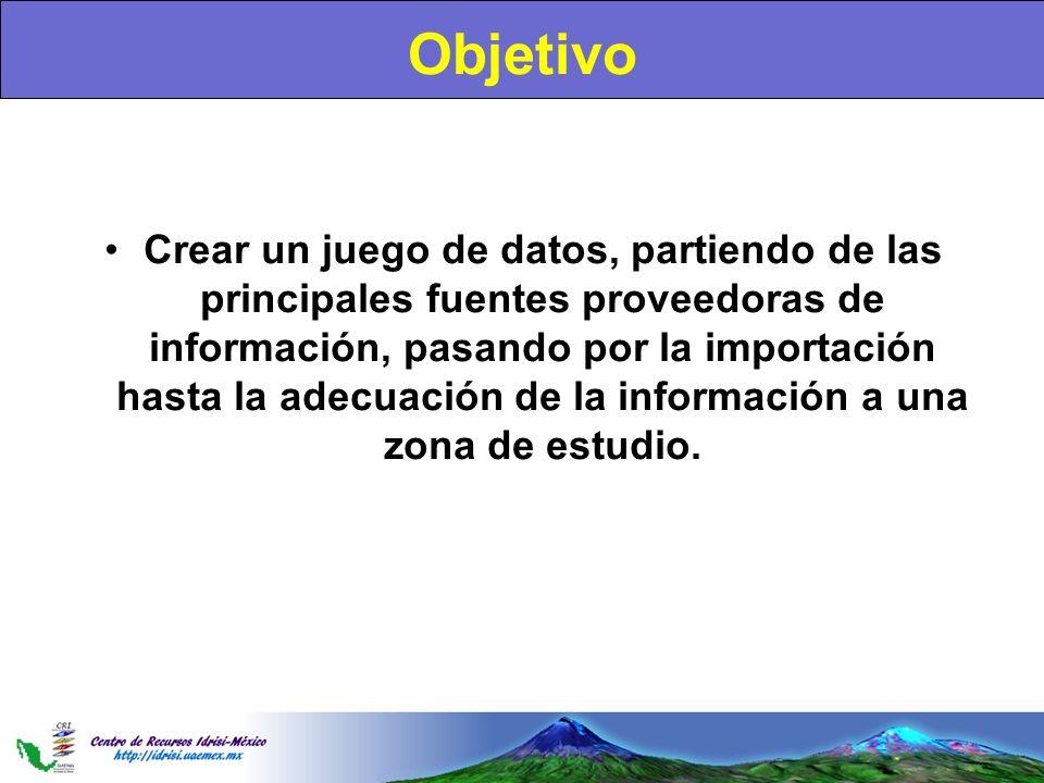 Objetivo Crear un juego de datos, partiendo de las principales fuentes proveedoras de información, pasando por la importación hasta la adecuación de l