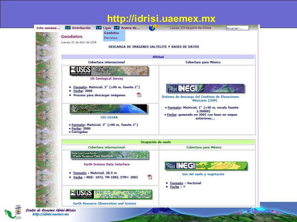 Importación de imágenes SRTM (Shuttle Radar Topography Mission) Esta misión realizada del 11 al 22 de febrero 2000 tenía como objetivo mapear el mundo en 3 dimensiones.