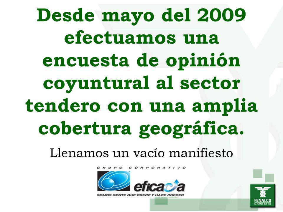 Desde mayo del 2009 efectuamos una encuesta de opinión coyuntural al sector tendero con una amplia cobertura geográfica. Llenamos un vacío manifiesto