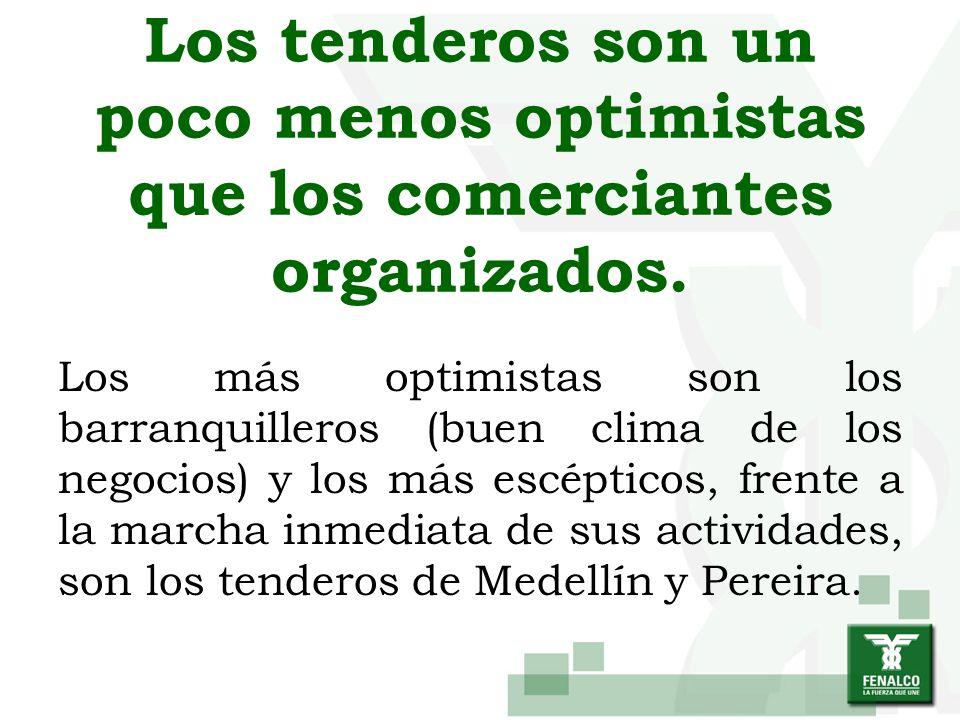 Los tenderos son un poco menos optimistas que los comerciantes organizados. Los más optimistas son los barranquilleros (buen clima de los negocios) y