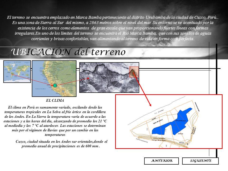 UBICACIÓN del terreno SIGUIENTE El terreno se encuentra emplazado en Marca Bamba perteneciente al distrito Urubamba de la ciudad de Cuzco, Perú.. Es u