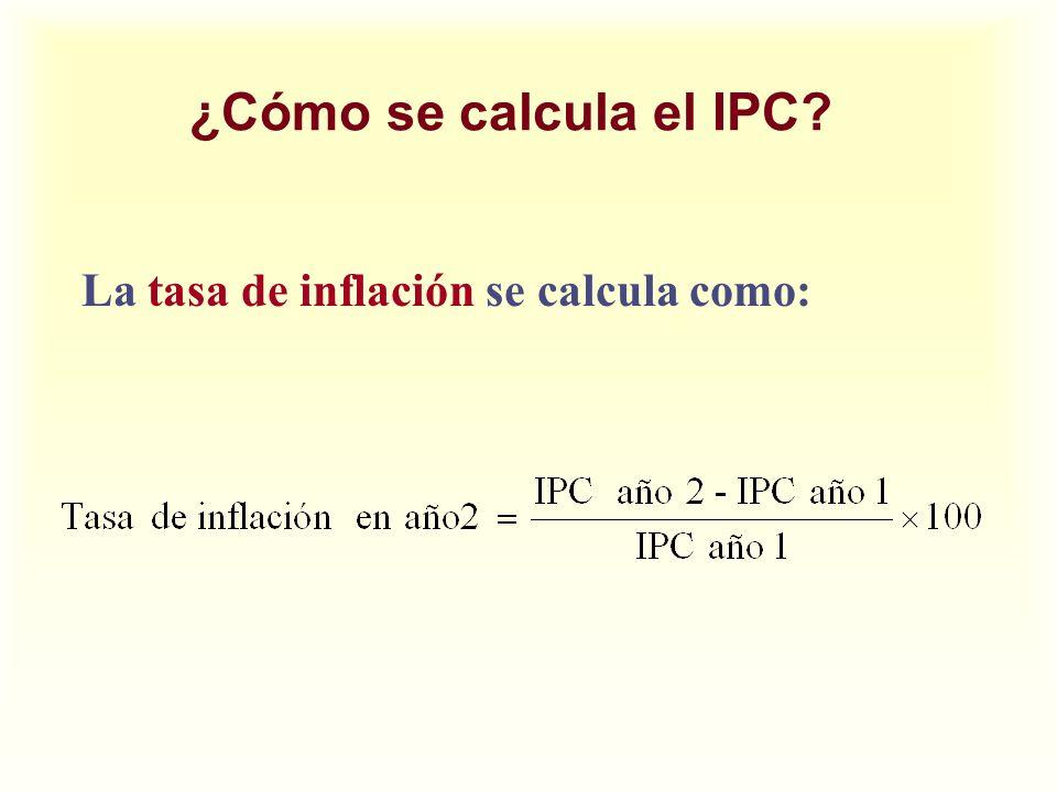 ¿Cómo se calcula el IPC? La tasa de inflación se calcula como: