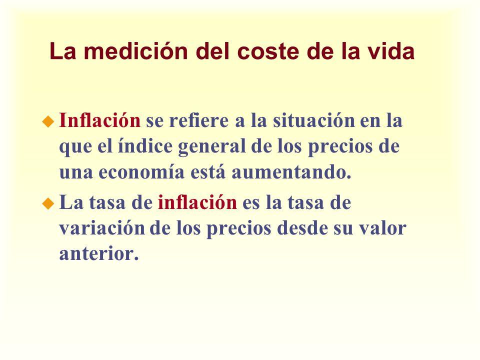 La medición del coste de la vida u Inflación se refiere a la situación en la que el índice general de los precios de una economía está aumentando. u L