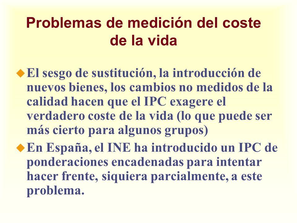 Problemas de medición del coste de la vida u El sesgo de sustitución, la introducción de nuevos bienes, los cambios no medidos de la calidad hacen que