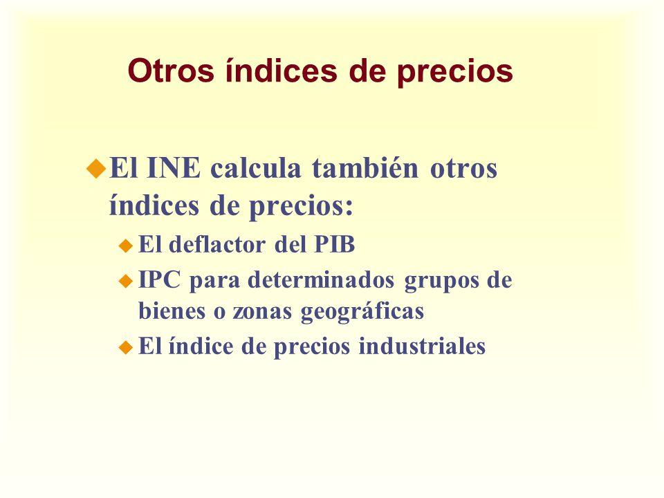 Otros índices de precios u El INE calcula también otros índices de precios: u El deflactor del PIB u IPC para determinados grupos de bienes o zonas ge