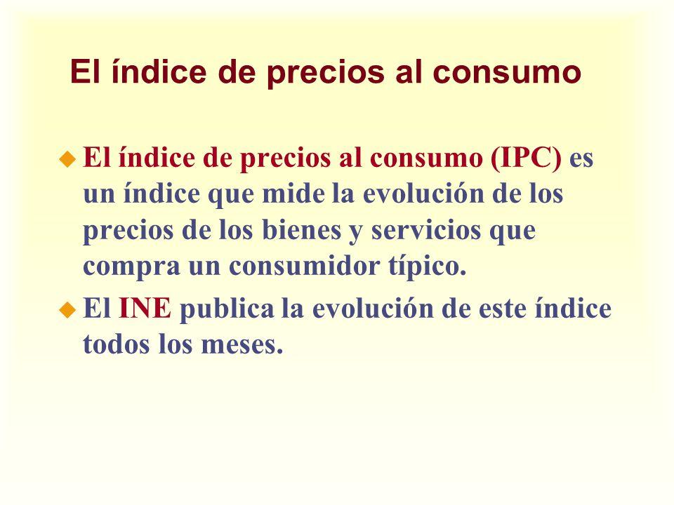Otros índices de precios u El INE calcula también otros índices de precios: u El deflactor del PIB u IPC para determinados grupos de bienes o zonas geográficas u El índice de precios industriales