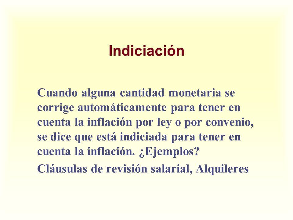 Indiciación Cuando alguna cantidad monetaria se corrige automáticamente para tener en cuenta la inflación por ley o por convenio, se dice que está ind