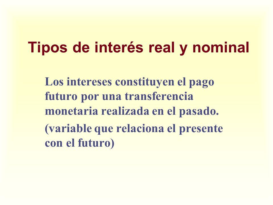 Tipos de interés real y nominal Los intereses constituyen el pago futuro por una transferencia monetaria realizada en el pasado. (variable que relacio